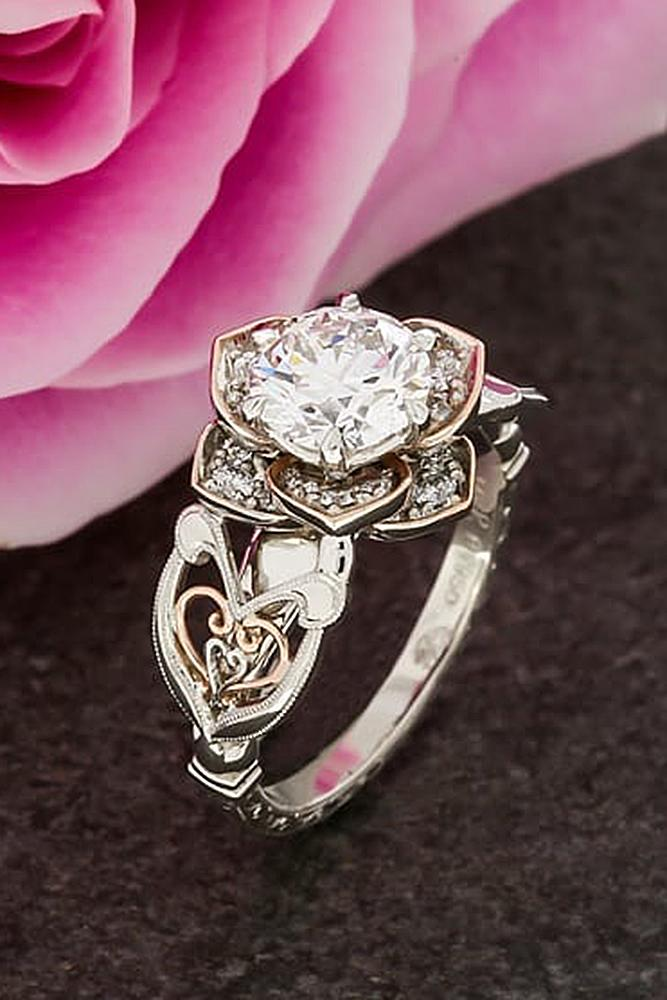 flower engagement rings white gold rose round cut diamond unique band tender