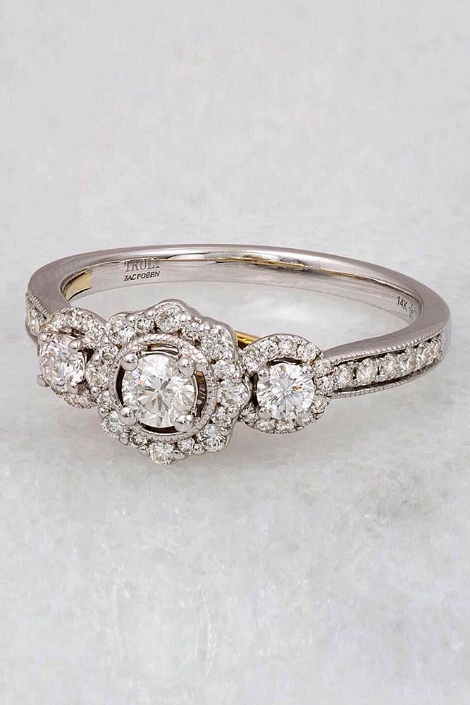 flower engagement rings white gold three stones round cut