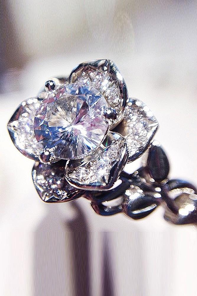 flower engagement rings with unique elements white gold rose with round cut diamond twisted bands