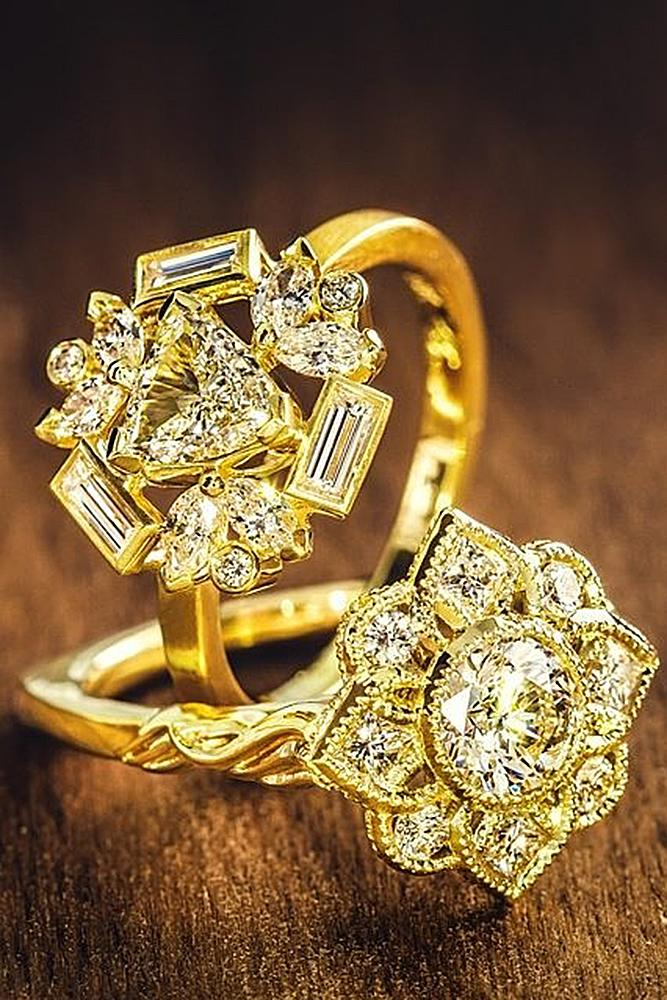 flower engagement rings yellow gold diamonds pave band wonderful