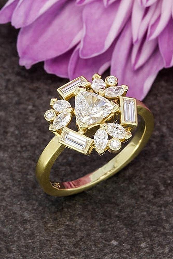flower engagement rings yellow gold pave band unique