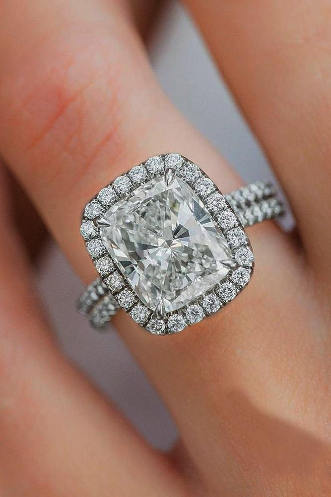 gold engagement rings emerald cut halo split pave band