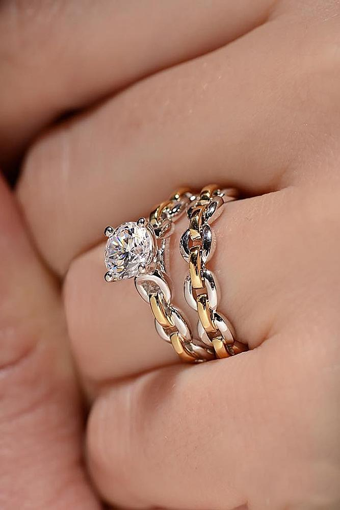 gold engagement rings gold wedding set twist solitaire