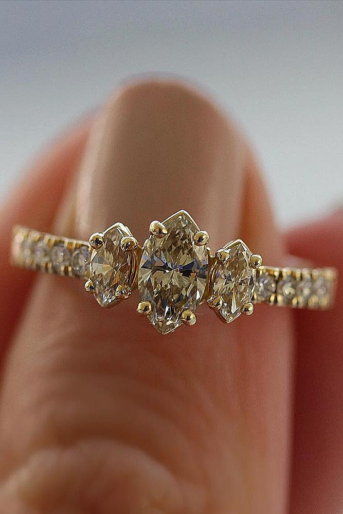 gold engagement rings marquise cut yellow gold pave band