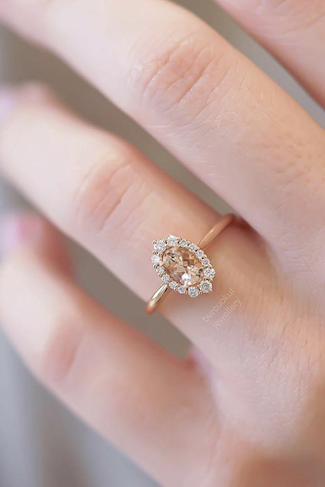 gold engagement rings oval cut rose halo diamond
