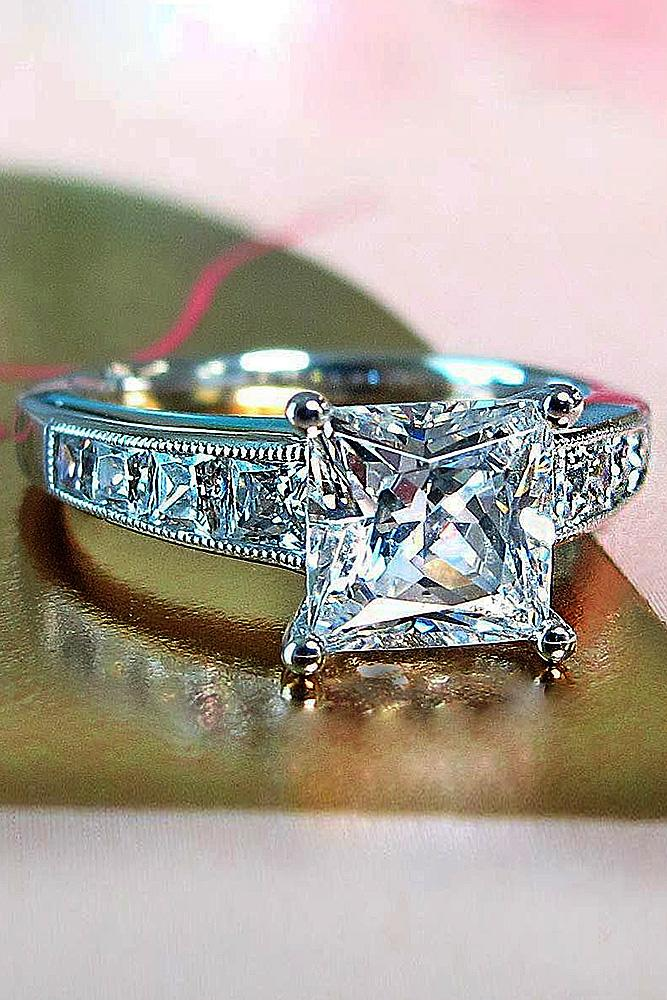 gold engagement rings princess cut solitaire diamond white gold