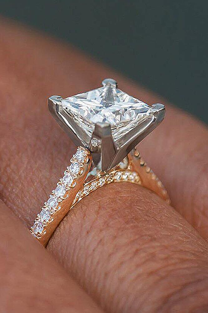 gold engagement rings princess cut solitaire diamond white yellow gold