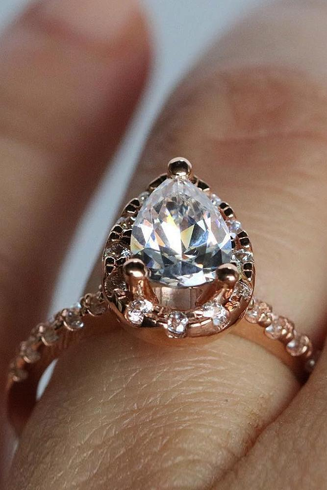 gold engagement rings rose gold pear cut halo