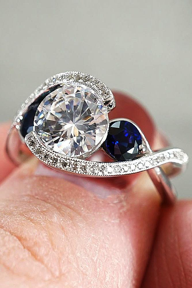 gold engagement rings white gold pave band unique sapphire