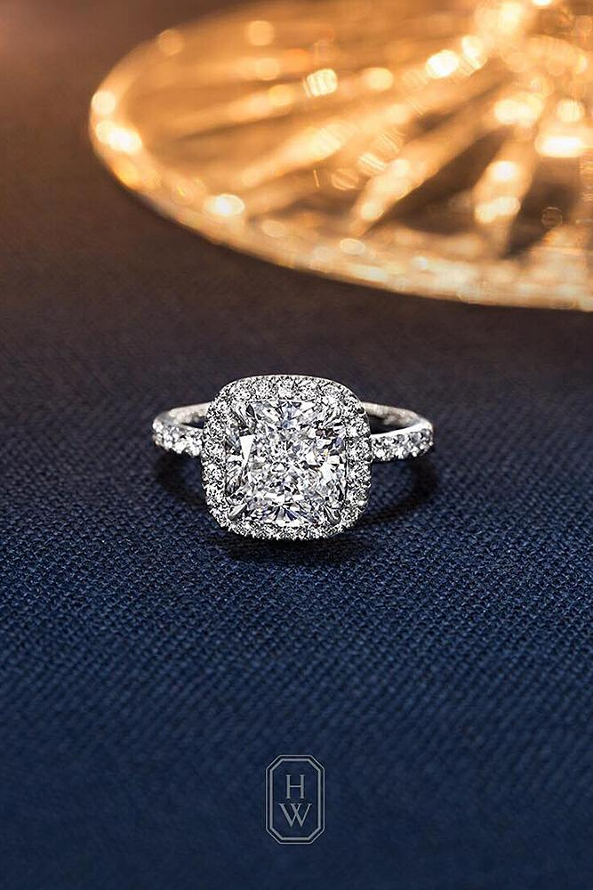 harry winston engagement rings cushion cut halo pave band diamond