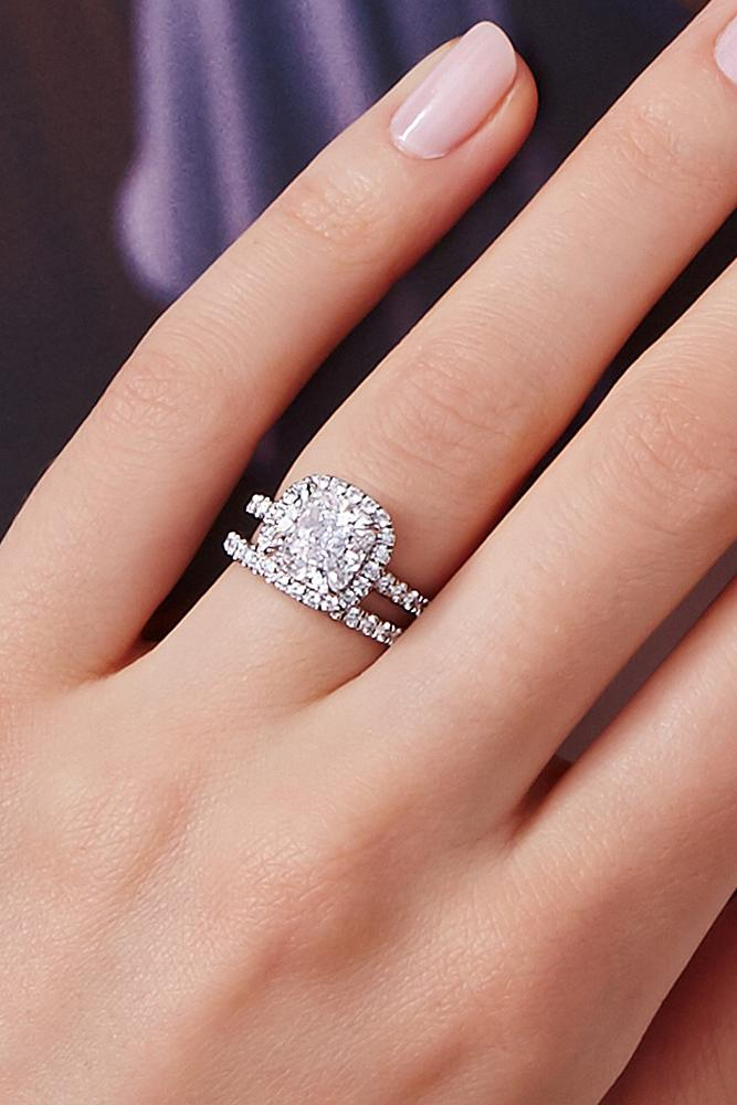 harry winston engagement rings cushion cut wedding set halo pave band