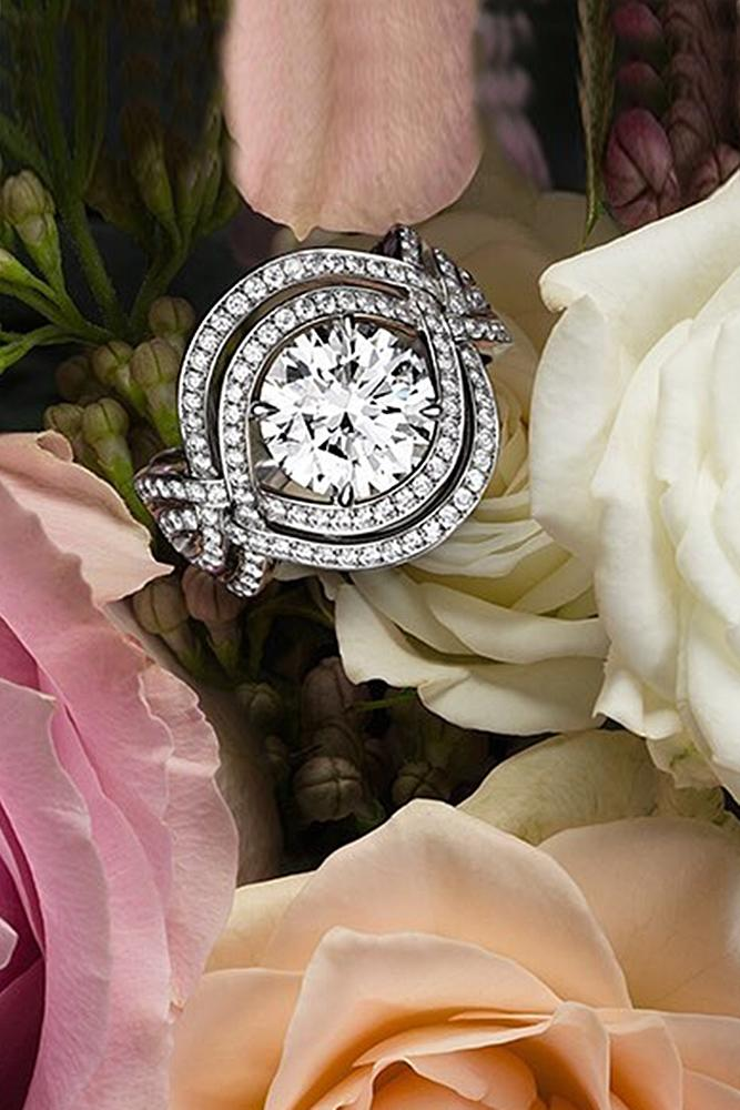 harry winston engagement rings double halo round cut twist pave band