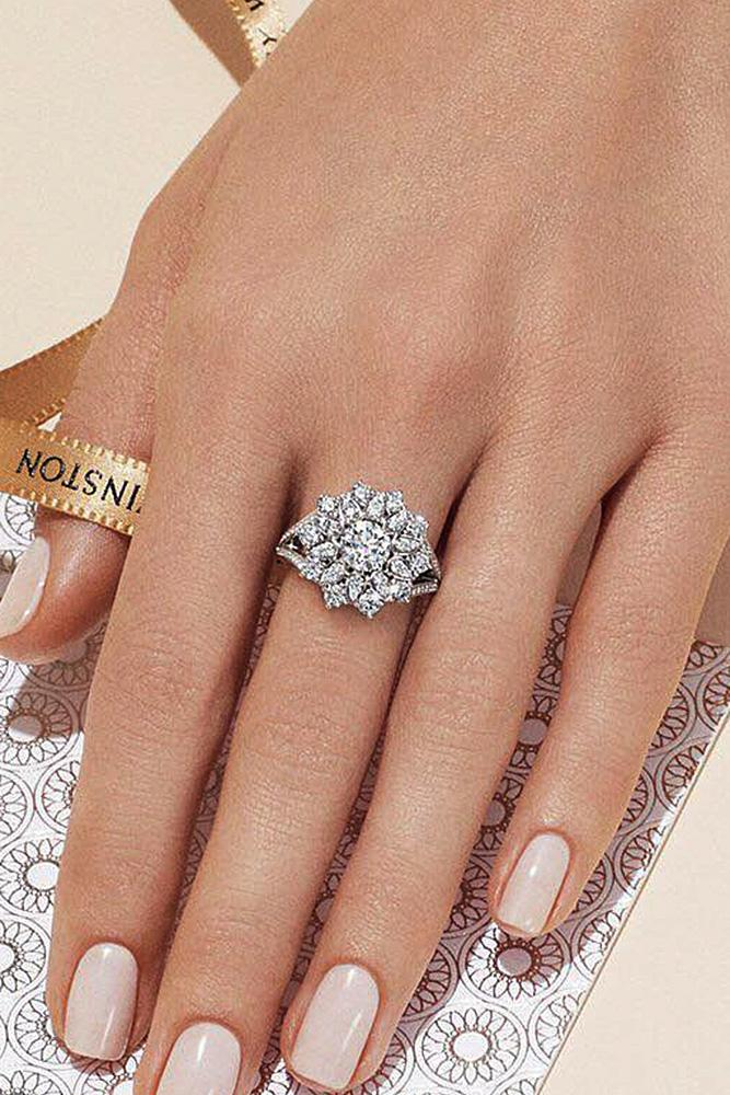 harry winston engagement rings halo floral split pave band