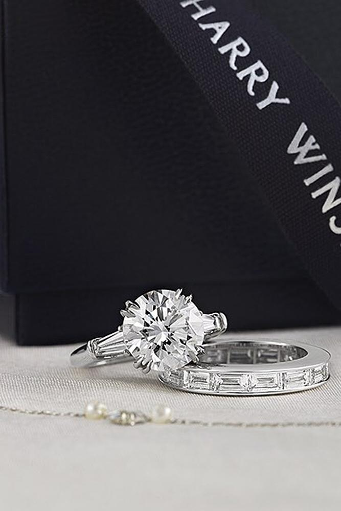 harry winston engagement rings round cut wedding set white gold solitaire