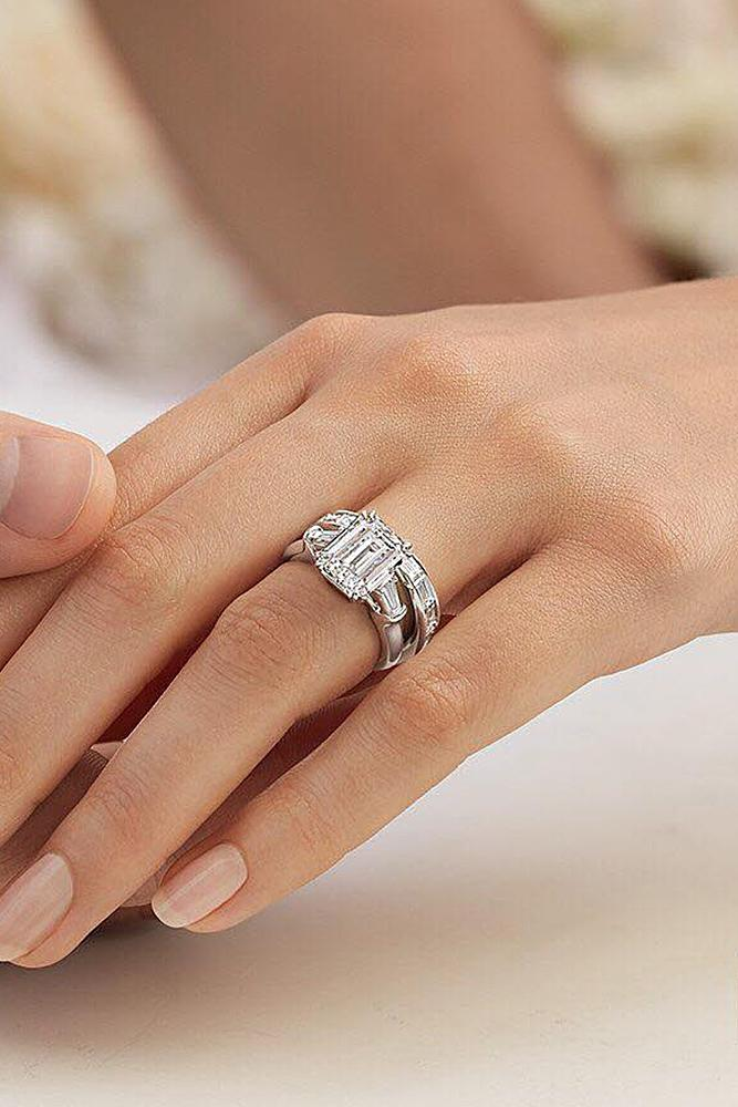 harry winston engagement rings wedding set emerald cut solitaire white gold