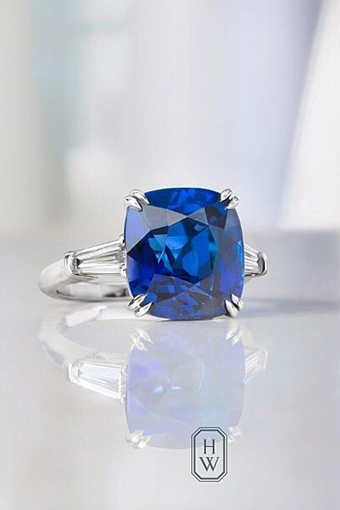 harry winston engagement rings white gold cushion cut sapphire solitaire simple pave band sparkling