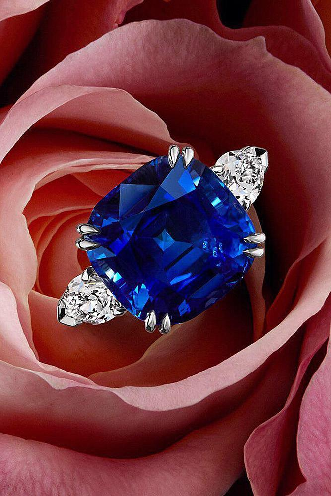 harry winston engagement rings white gold cushion cut sapphire with round cut diamonds three stone ring simple pave band sparkling