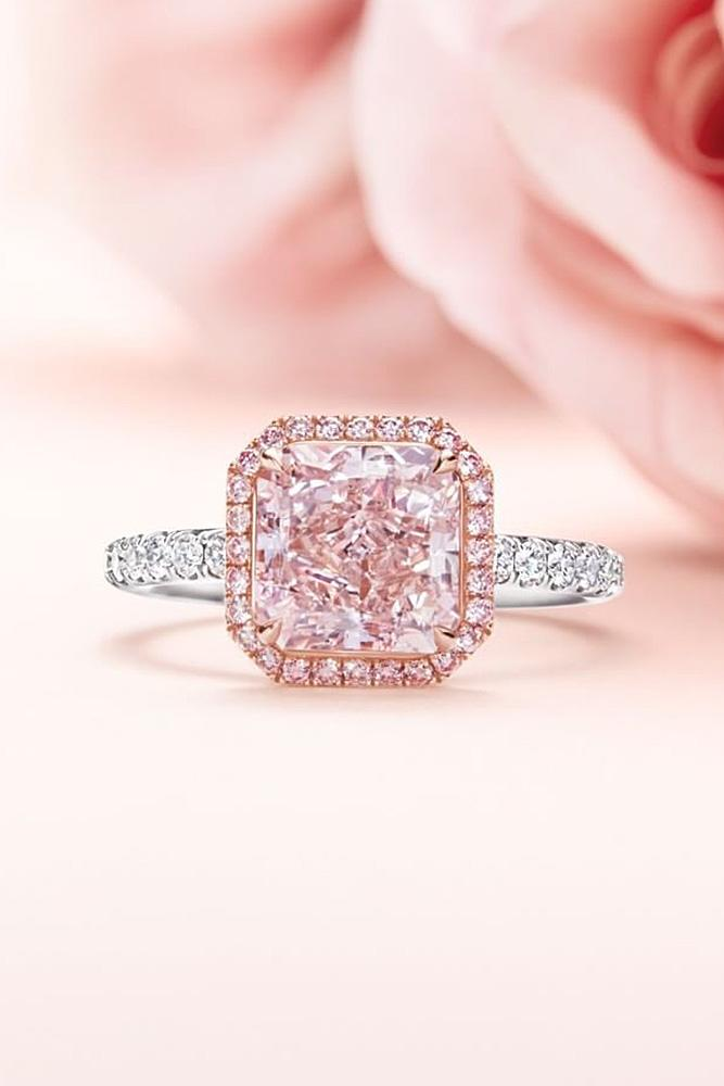 harry winston engagement rings white gold sparkling cushion cut pink gemstone halo simple pave band amazing