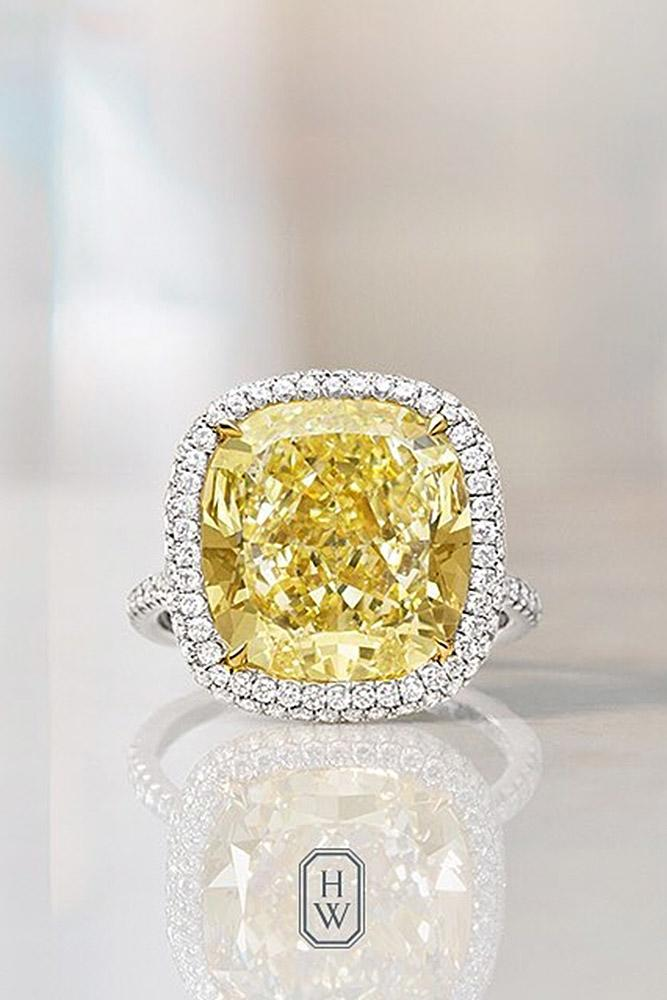 harry winston engagement rings white gold sparkling cushion cut yellow gemstone halo simple pave band brilliant