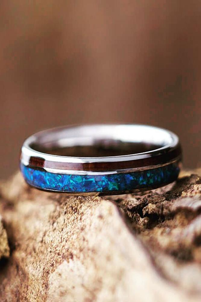 mens wedding bands black opal wood unique