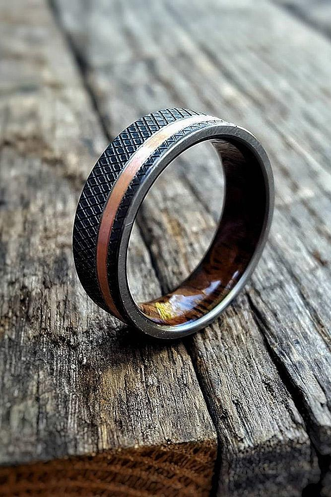 mens wedding bands gold black titanium geometry