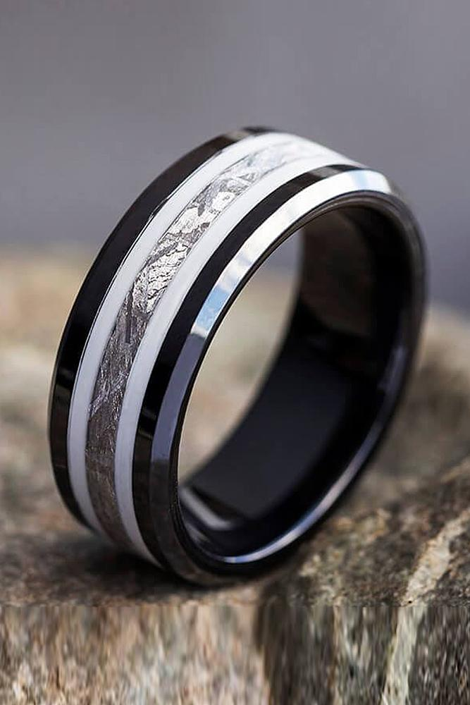 mens wedding bands tungsten black titanium