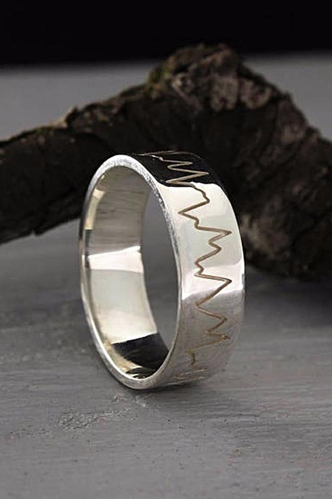 mens wedding bands white gold unique elements