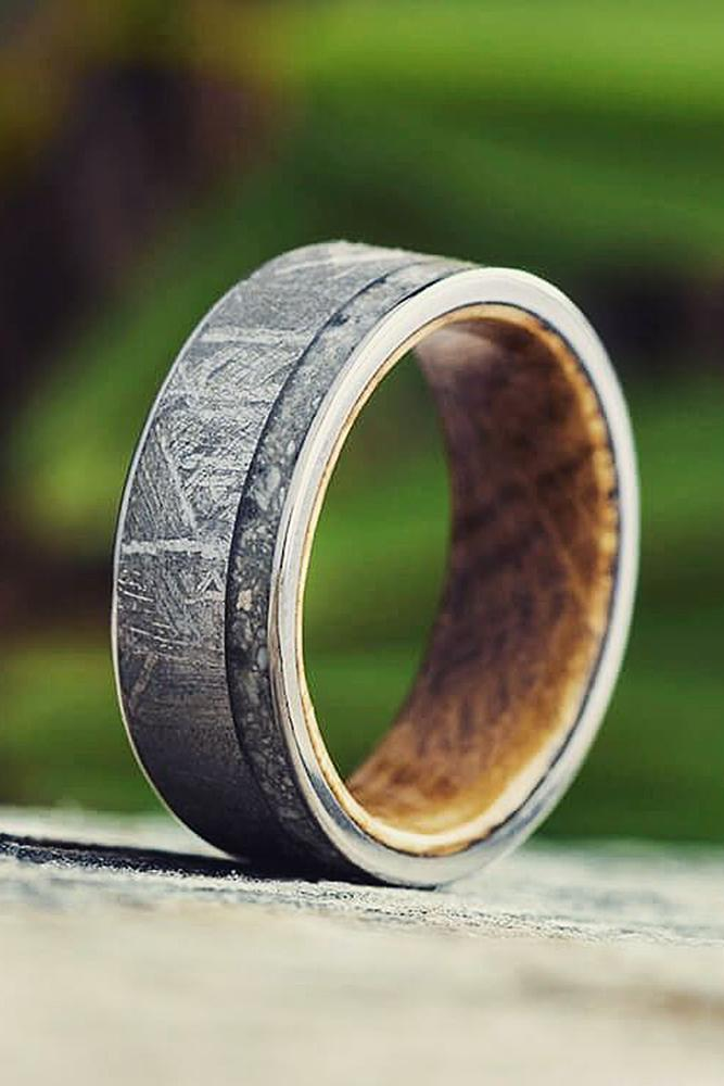 mens wedding bands wood elements tungsten