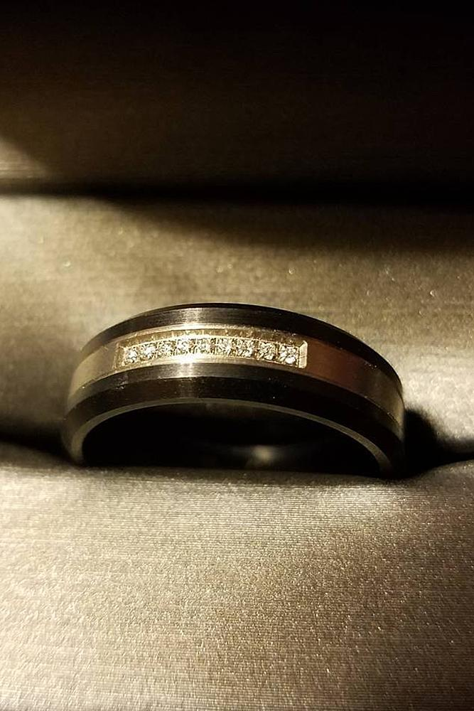 mens wedding bands yellow gold and black titanium with gemstones unique pave band