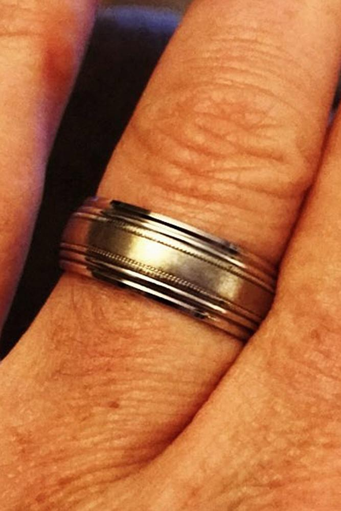 mens wedding bands yellow gold and white gold classic pave band for him