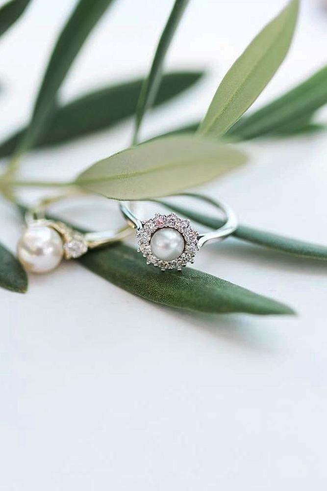 pearl engagement rings halo floral white gold