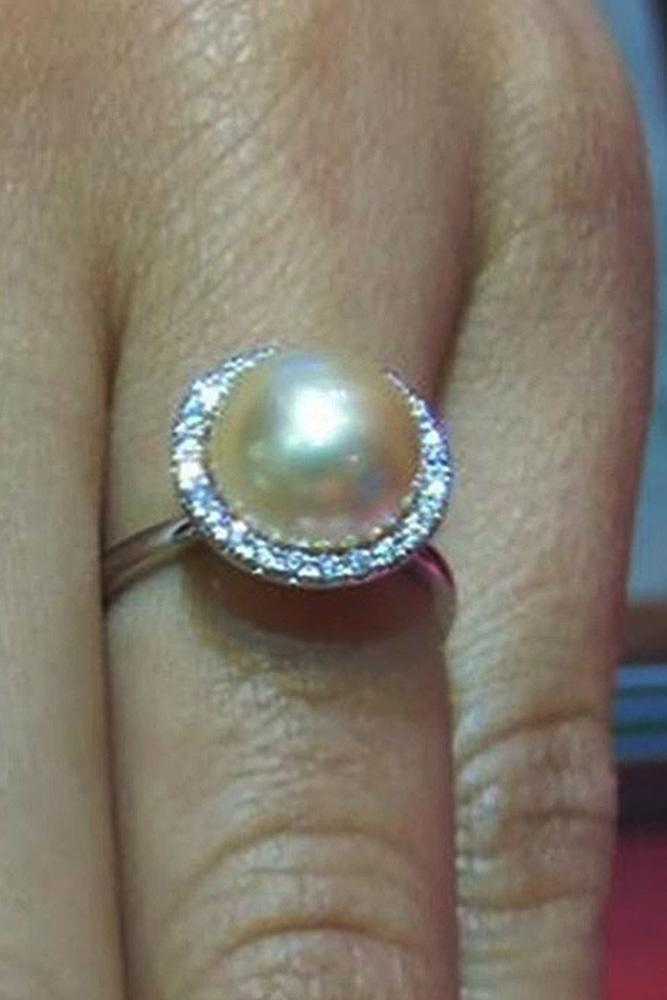 pearl engagement rings halo gold diamonds round