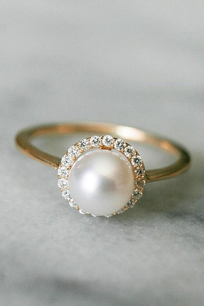pearl engagement rings halo rose gold