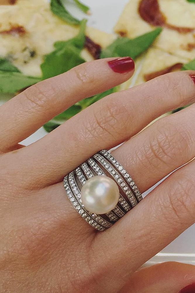 pear engagement rings pave band solitaire