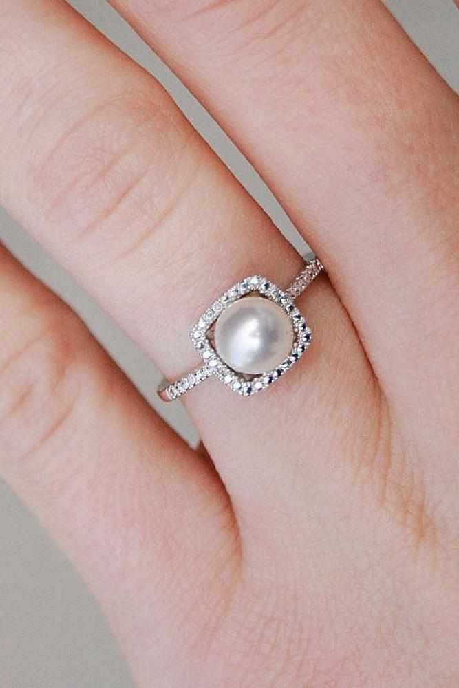 pearl engagement rings pave band white gold modern