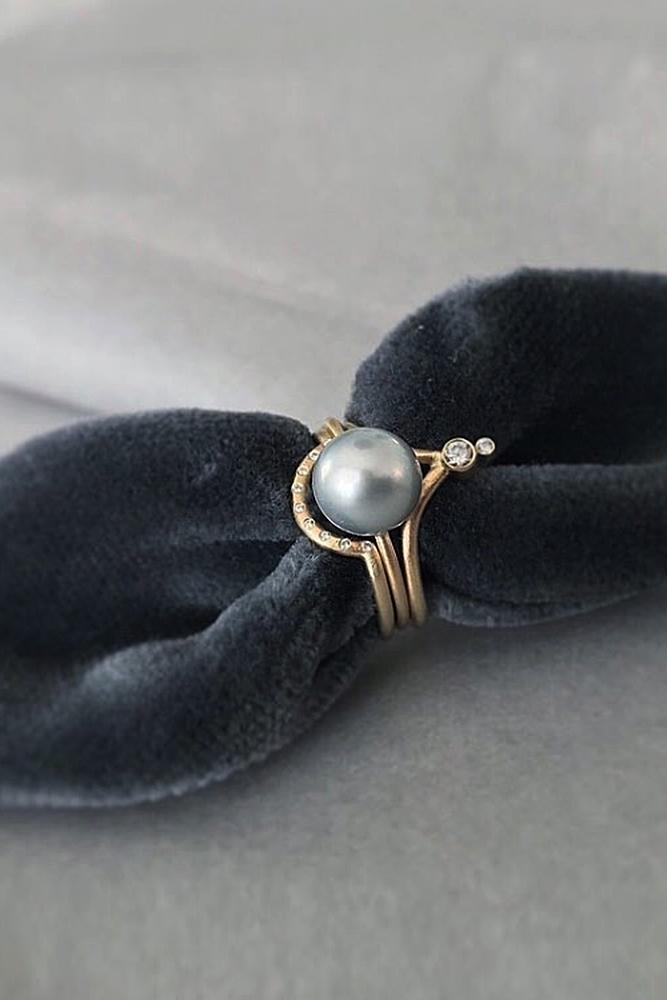 pearl engagement rings rose gold unique modern