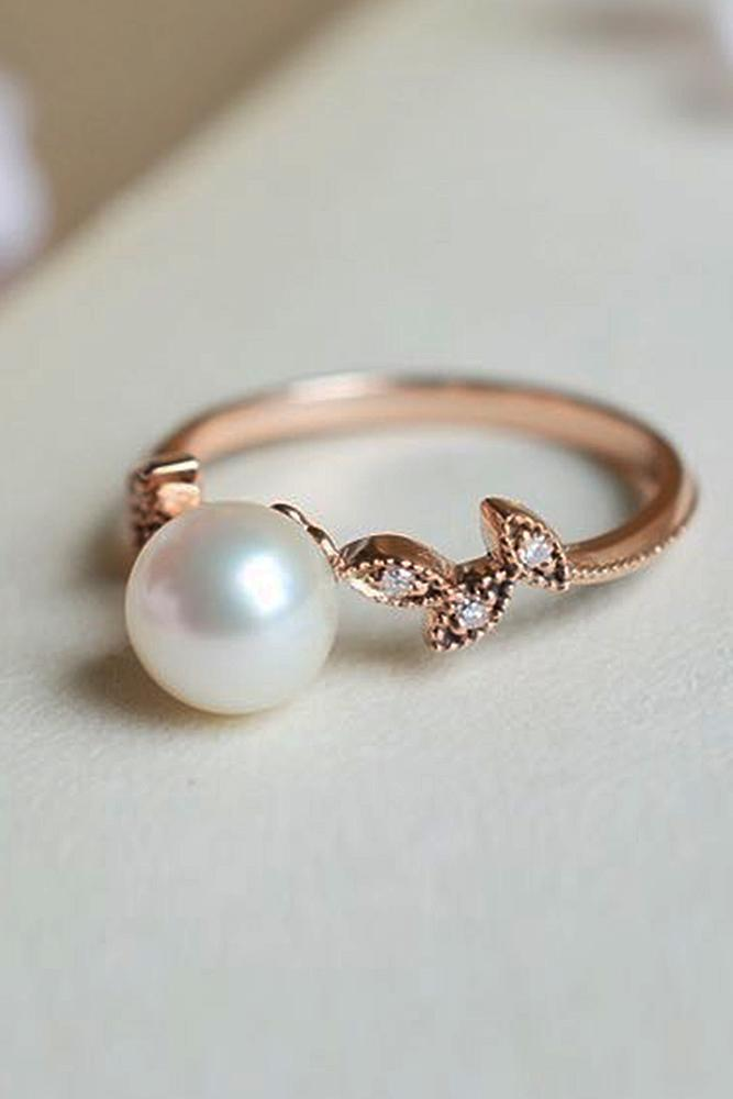 mini engagement pearls ring delicate unique media gold diamond halo freshwater pearl