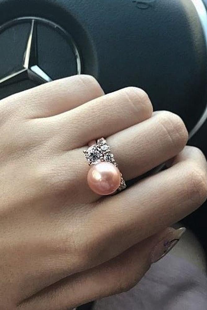 pearl engagement rings rose gold wedding set