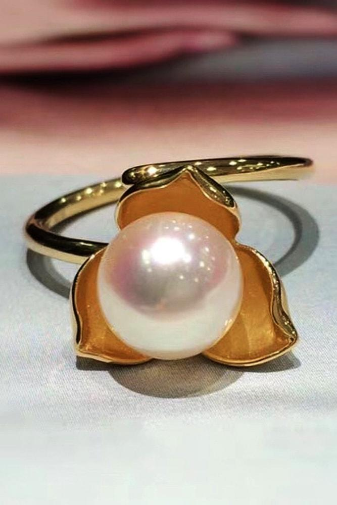 pearl engagement rings rose gold wonderful white pearl-engagement-ring with flower elements