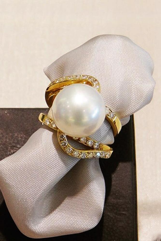 pearl engagement rings solitaire pave band yellow gold
