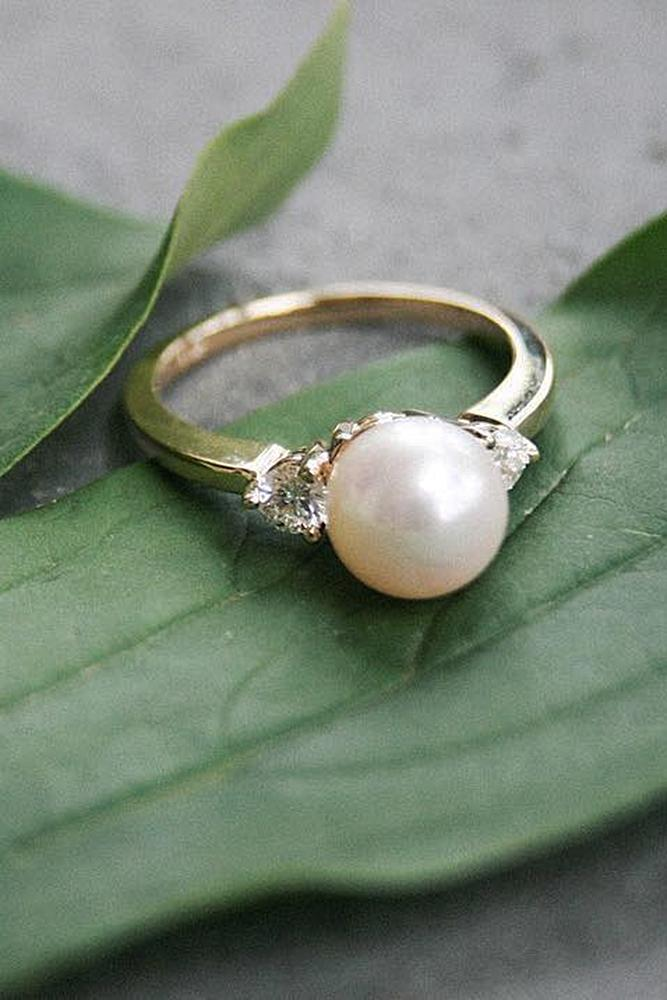 pearl engagement rings solitaire three stones diamonds