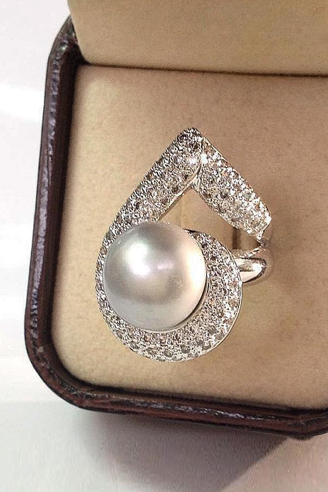 pearl engagement rings unique modern white gold