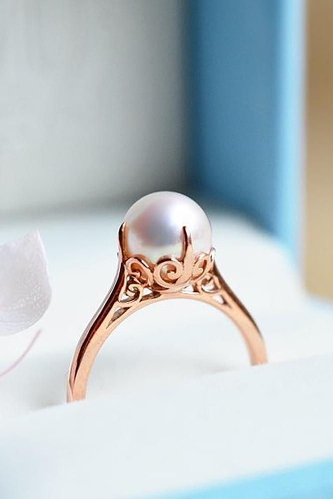 pearl engagement rings vintage rose gold solitaire - Pearl Wedding Ring