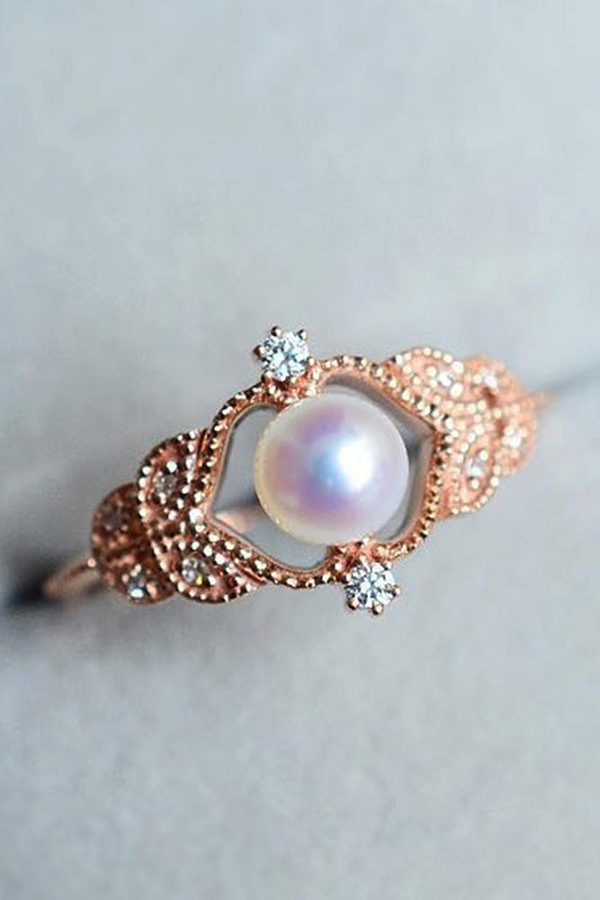 pearl engagement rings vintage rose gold round