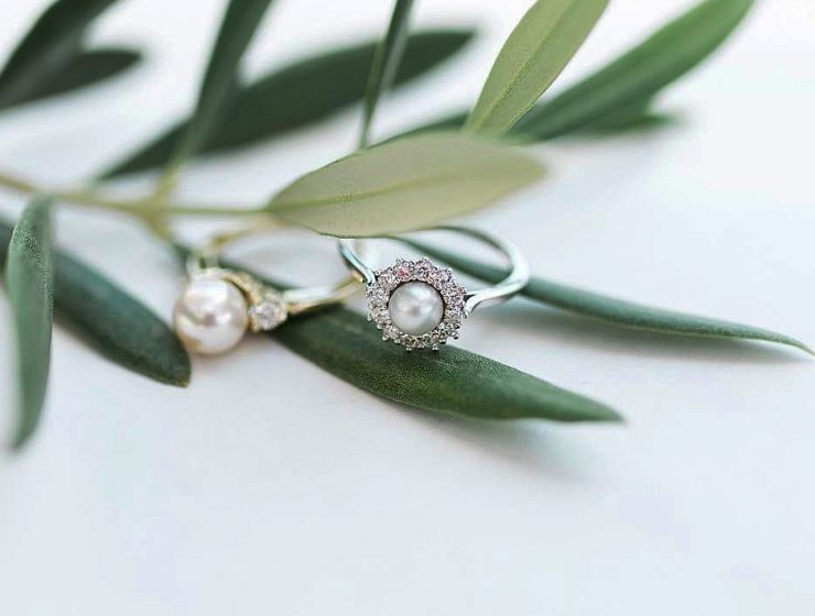 pearl engagement rings white gold floral halo