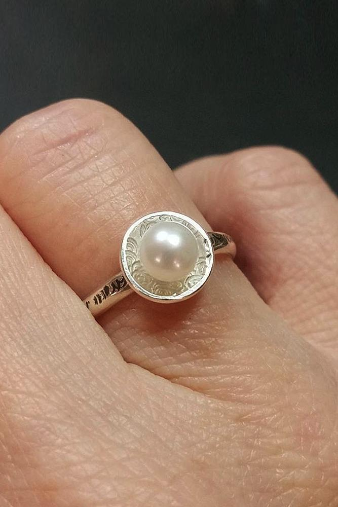 pearl engagement rings white gold halo