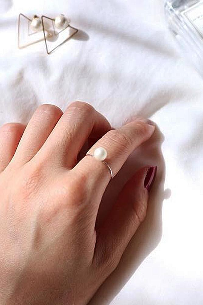 pearl engagement rings yellow gold simple solitaire