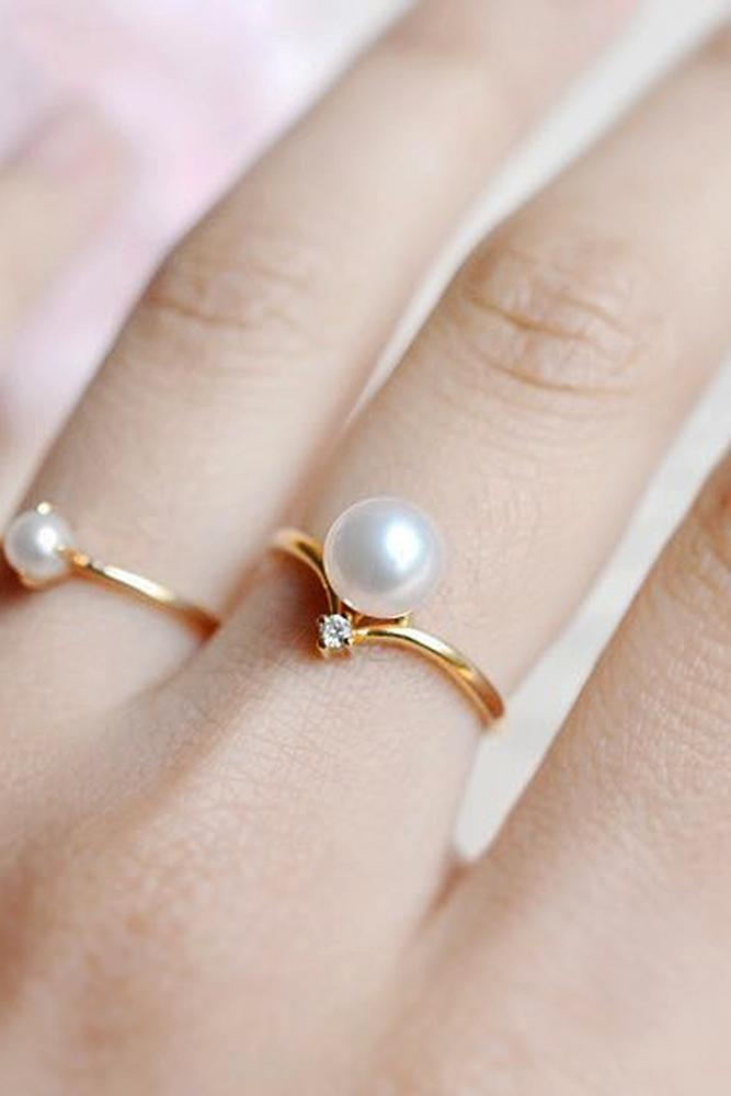 pearl engagement rings yellow gold vintage