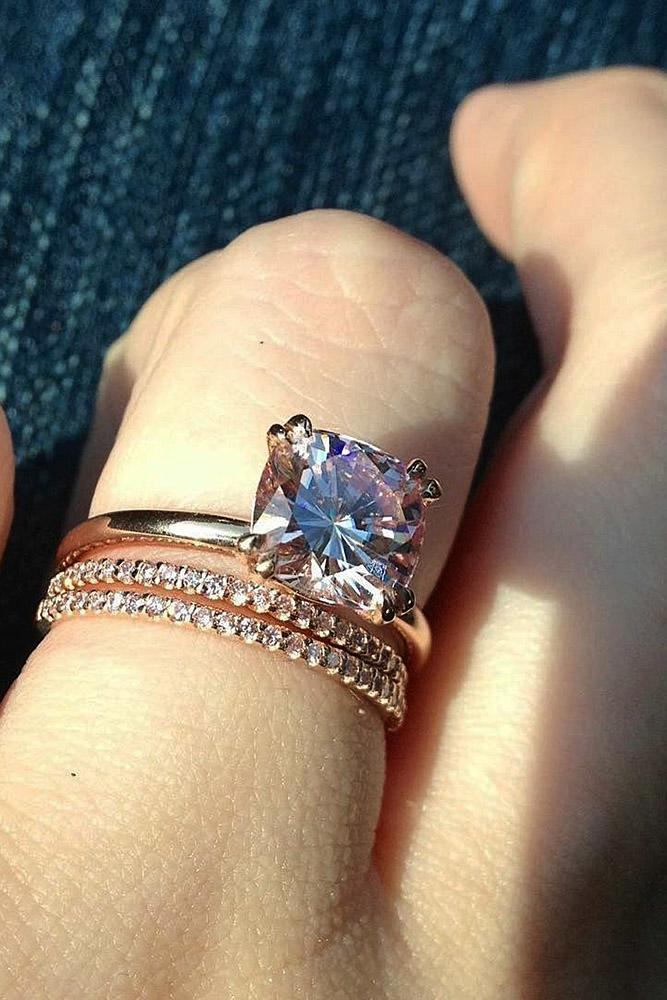 rose gold wedding rings cushion cut simple