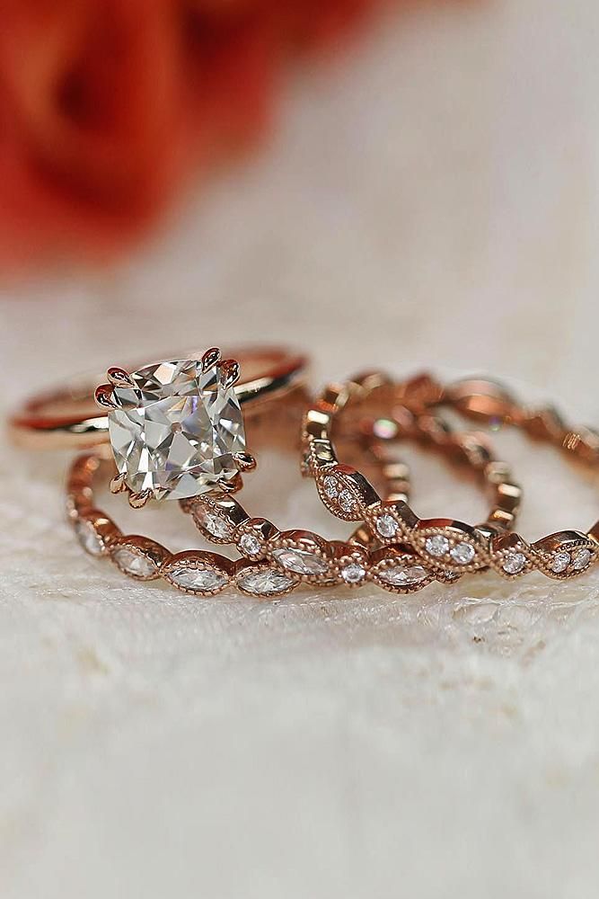 rose gold wedding rings cushion cut solitaire diamond